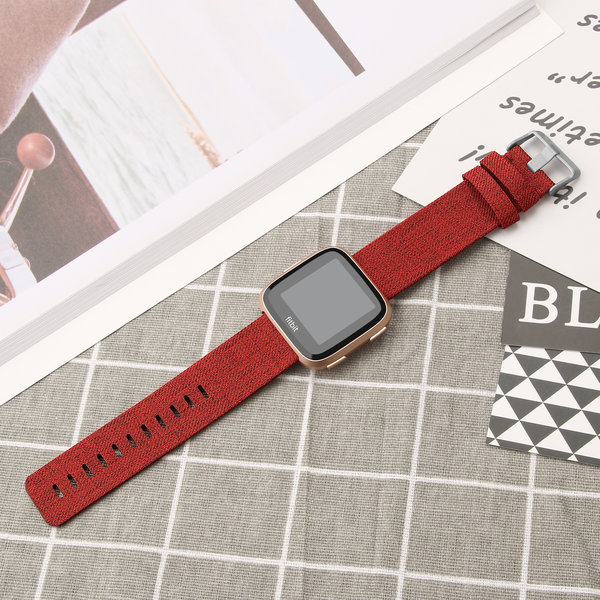 123Watches.nl Fitbit versa nylon gesp band - rood