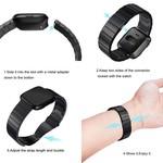 123Watches Fitbit versa stalen schakel band - zwart