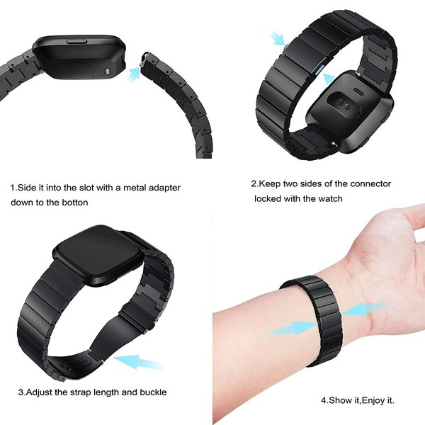 123Watches Fitbit versa steel link band - black