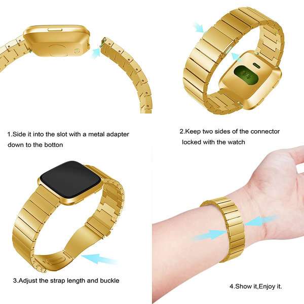 123Watches.nl Fitbit versa steel link band - gold