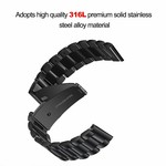 123Watches Fitbit versa 3 kralen stalen schakel band - zwart