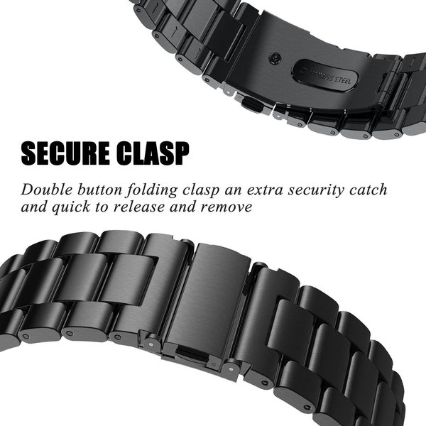 123Watches Fitbit versa 3 beads steel link band - black
