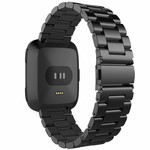 123Watches.nl Fitbit versa 3 beads steel link band - black