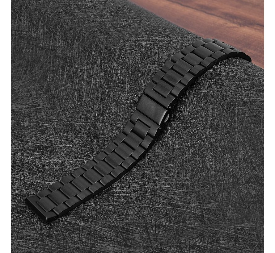 Fitbit versa 3 kralen stalen schakel band - zwart