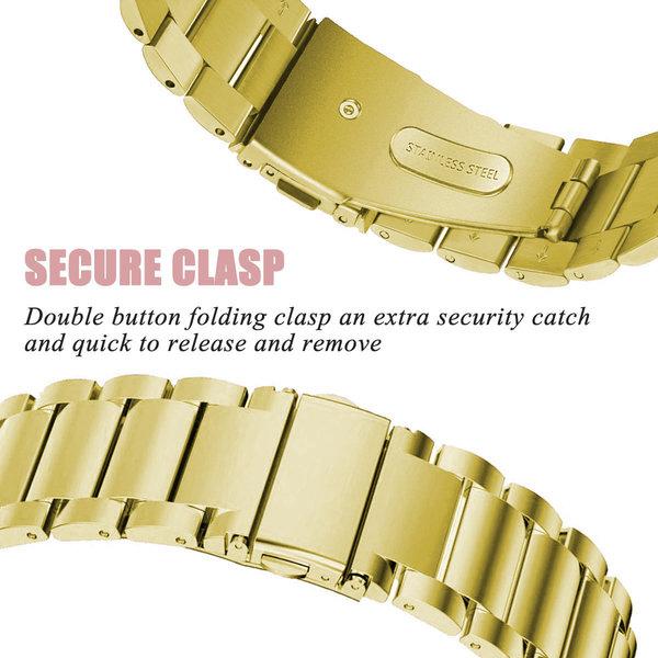123Watches.nl Fitbit versa 3 kralen stalen schakel band - goud