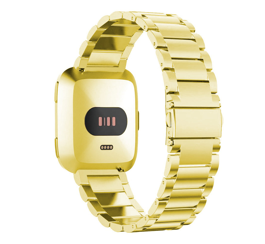 Fitbit versa 3 beads steel link band - gold