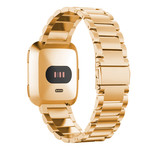 123Watches.nl Fitbit versa 3 beads steel link band - rose gold