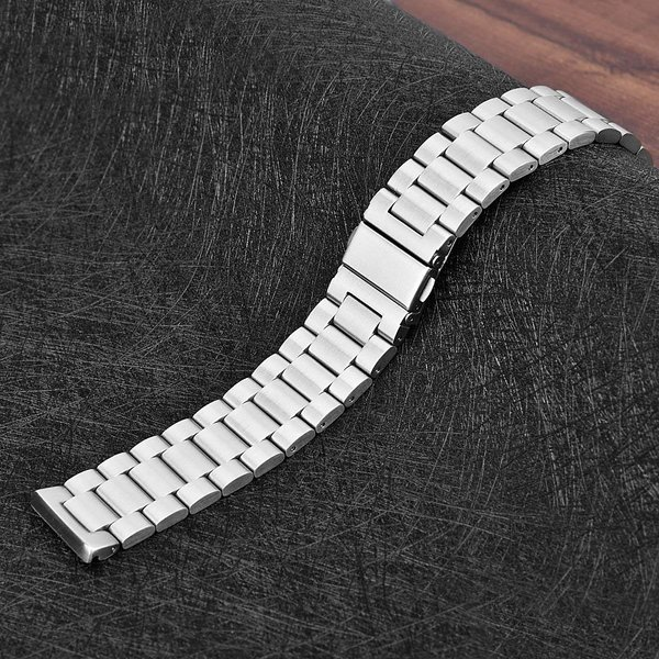 123Watches.nl Fitbit versa 3 beads steel link band - silver