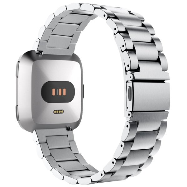 123Watches Fitbit versa 3 beads steel link band - silver
