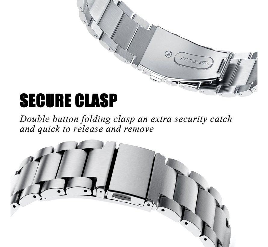 Fitbit versa 3 kralen stalen schakel band - zilver