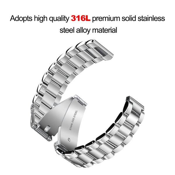 123Watches Fitbit versa kralen stalen schakel band - zilver