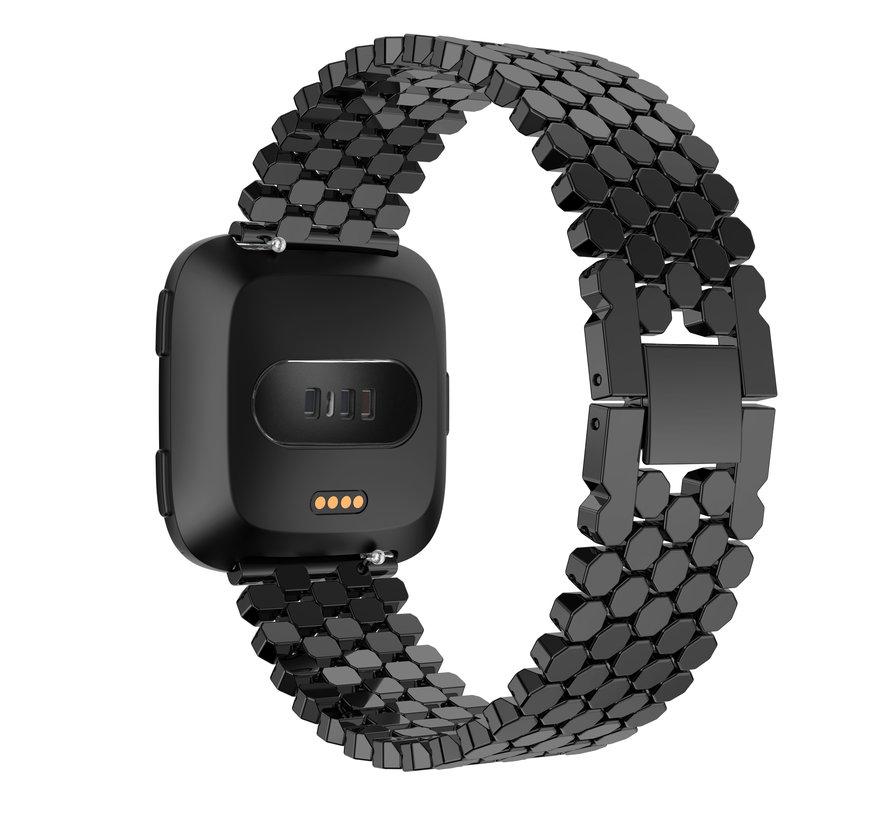 Fitbit versa fisch stahlgliederband - schwarz