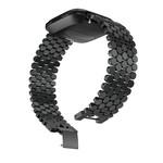 123Watches.nl Fitbit versa fish steel link band - black