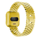 123Watches.nl Fitbit versa fish steel link band - gold