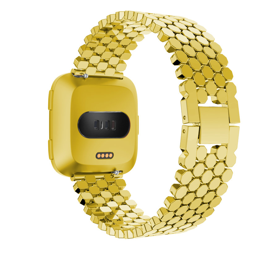 Fitbit versa fish steel link band - gold
