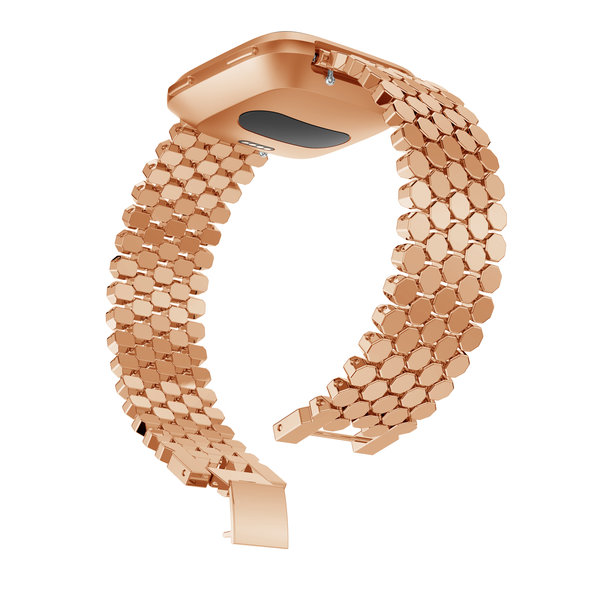 123Watches Fitbit versa vis stalen schakel band - rose goud