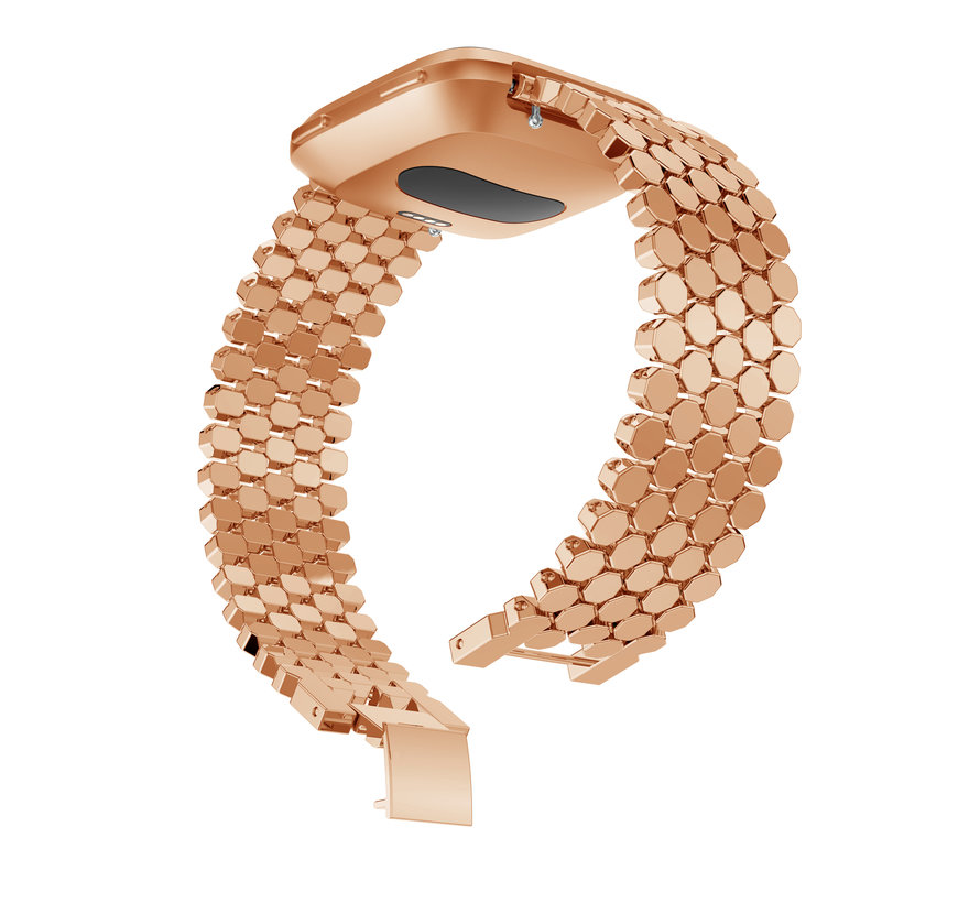Fitbit versa fish steel link band - rose gold