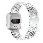 123Watches.nl Fitbit versa vis stalen schakel band - zilver