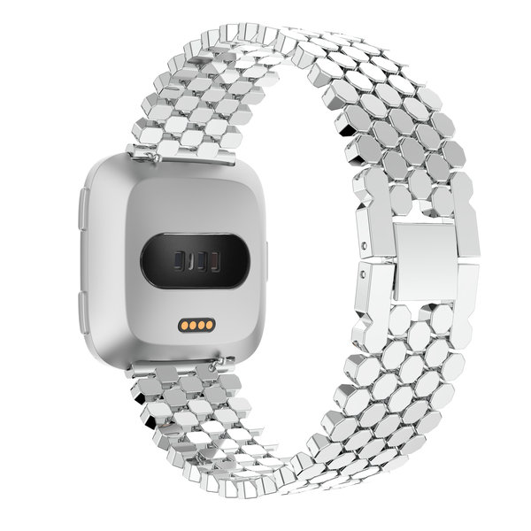 123Watches Fitbit versa fish steel link band - silver