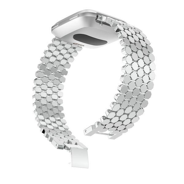 123Watches Fitbit versa vis stalen schakel band - zilver