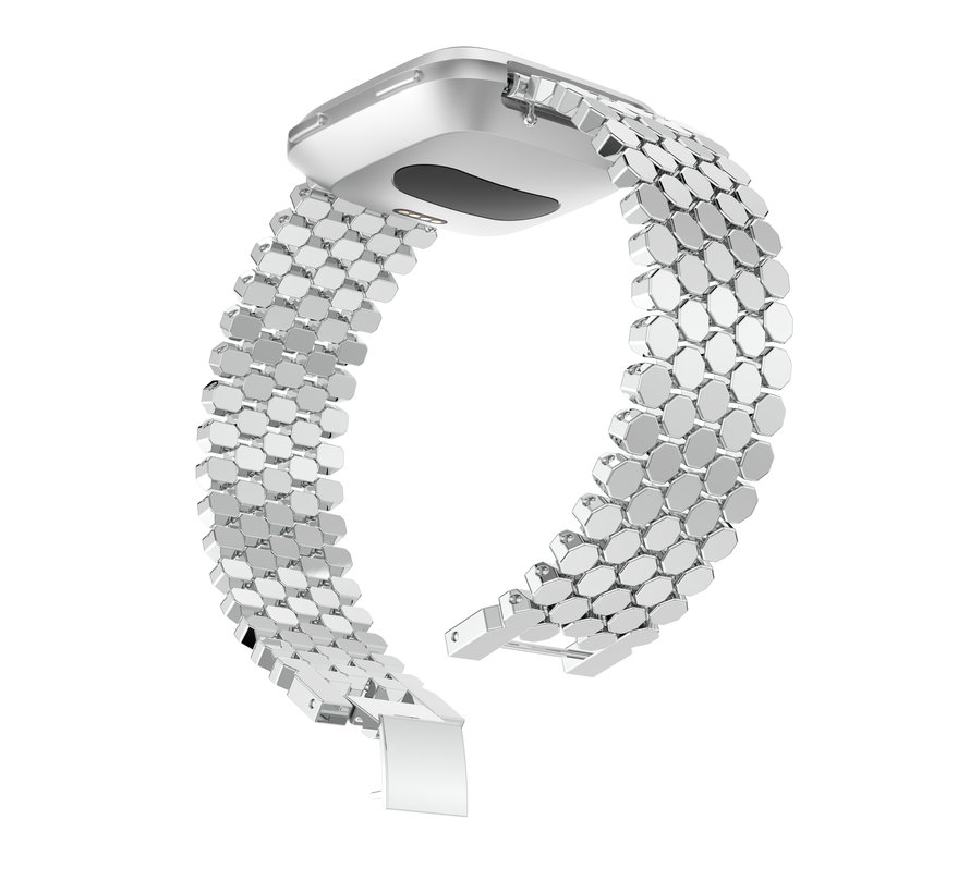 Fitbit versa fish steel link band - silver