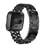123Watches Fitbit versa cowboy steel link band - black