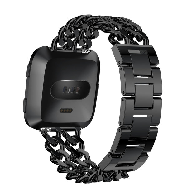 123Watches Fitbit versa bande en acier à cow-boy - noir