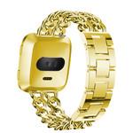 123Watches Fitbit versa cowboy stalen schakel band - goud
