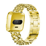 123Watches.nl Fitbit versa cowboy steel link band - gold