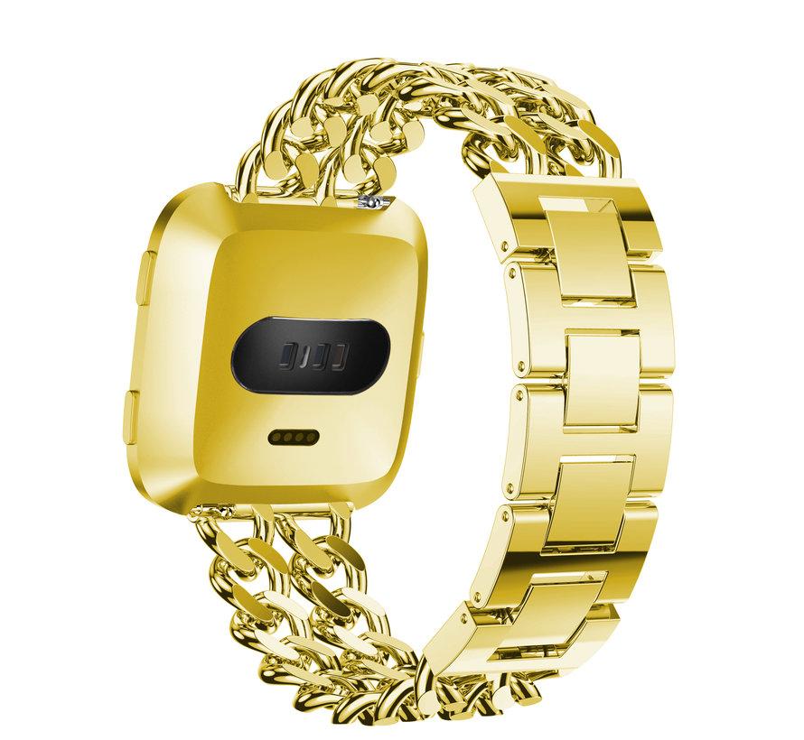 Fitbit versa cowboy steel link band - gold