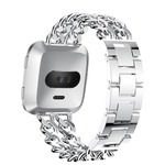 123Watches.nl Fitbit versa cowboy steel link band - silver