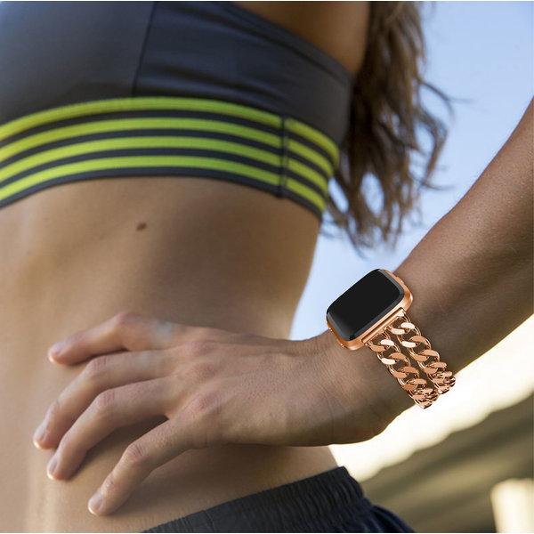 123Watches Fitbit versa cowboy stalen schakel band - rose goud