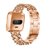 123Watches Fitbit versa cowboy steel link band - rose gold