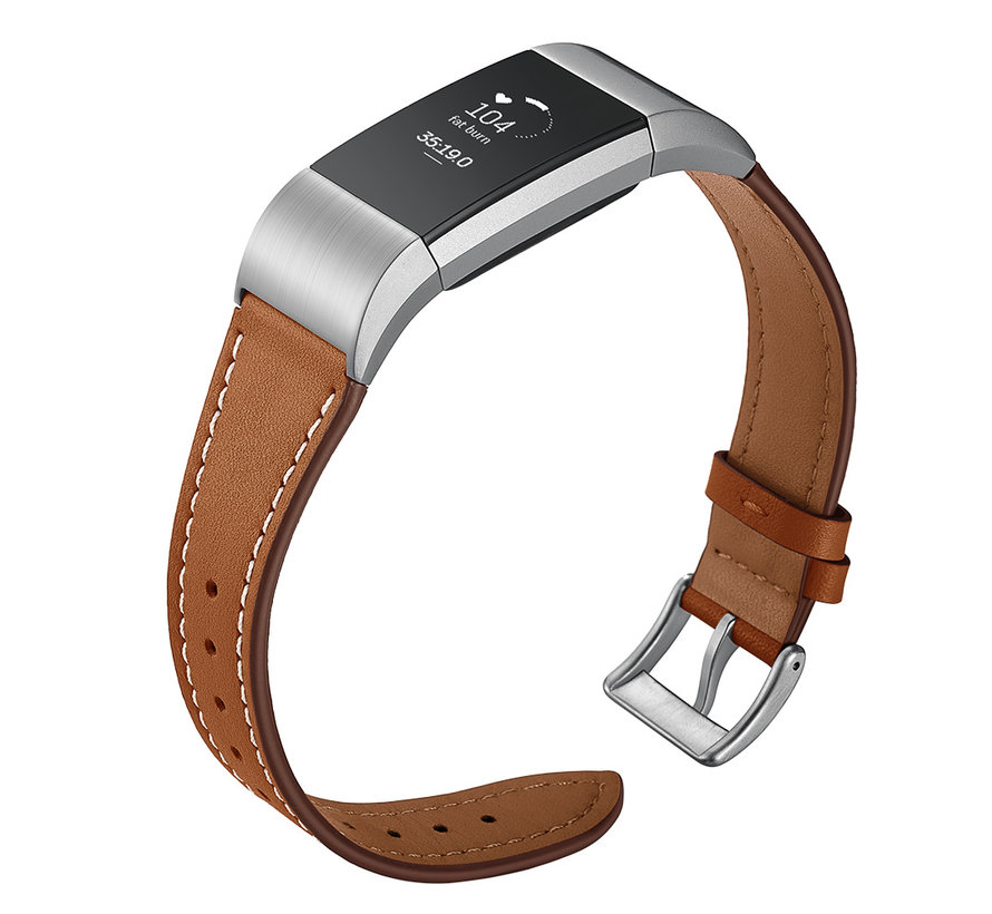Fitbit charge 2 premium leren band - bruin