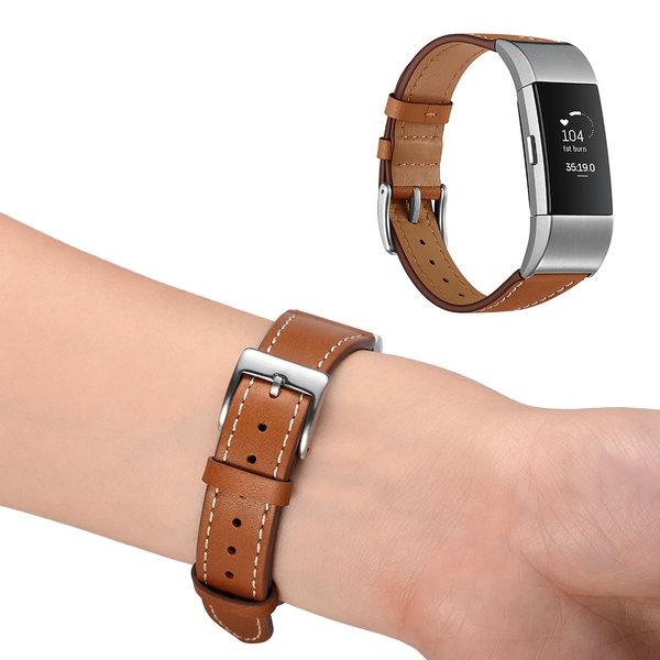 123Watches Fitbit charge 2 bracelet en cuir haut de gamme  - marron