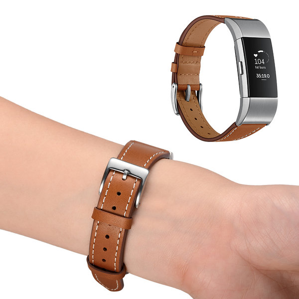 123Watches.nl Fitbit charge 2 premium leather strap - brown