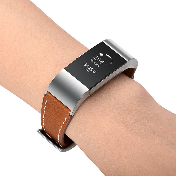123Watches Fitbit charge 2 premium leather strap - brown