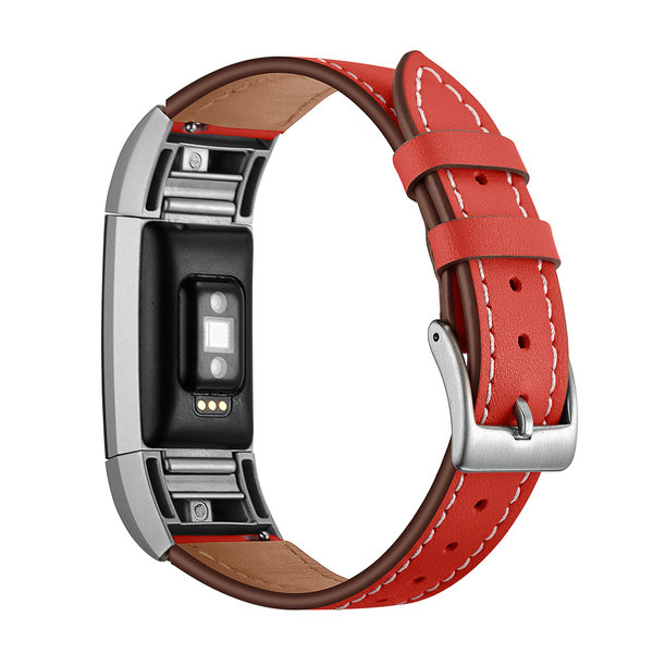 123Watches.nl Fitbit Charge 2 Premium Leather Strap - red