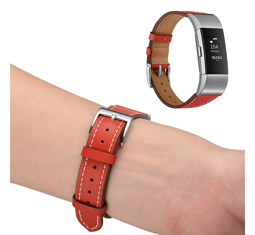 Fitbit Charge 2 Premium Lederband - rot