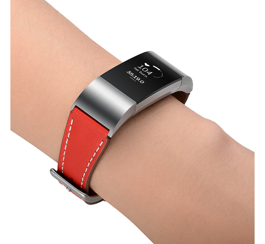 Fitbit charge 2 premium leren band - rood