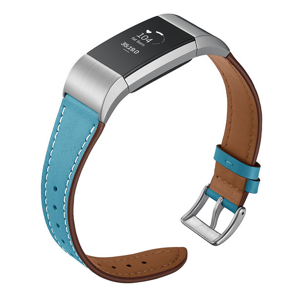 123Watches Fitbit charge 2 premium leren band - lichtblauw