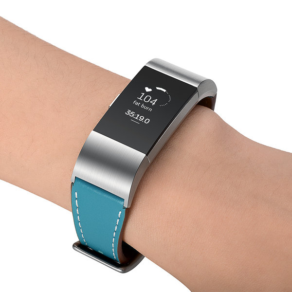 123Watches Fitbit Charge 2 Premium Leather Strap - light blue