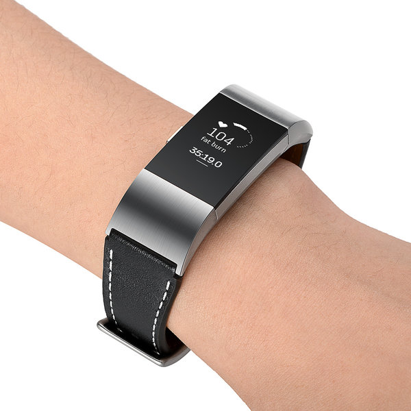 123Watches Fitbit charge 2 premium leather strap - black
