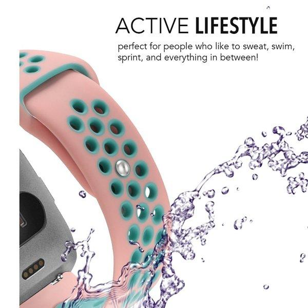 123Watches Fitbit versa dubbel sport band - roze lichtblauw