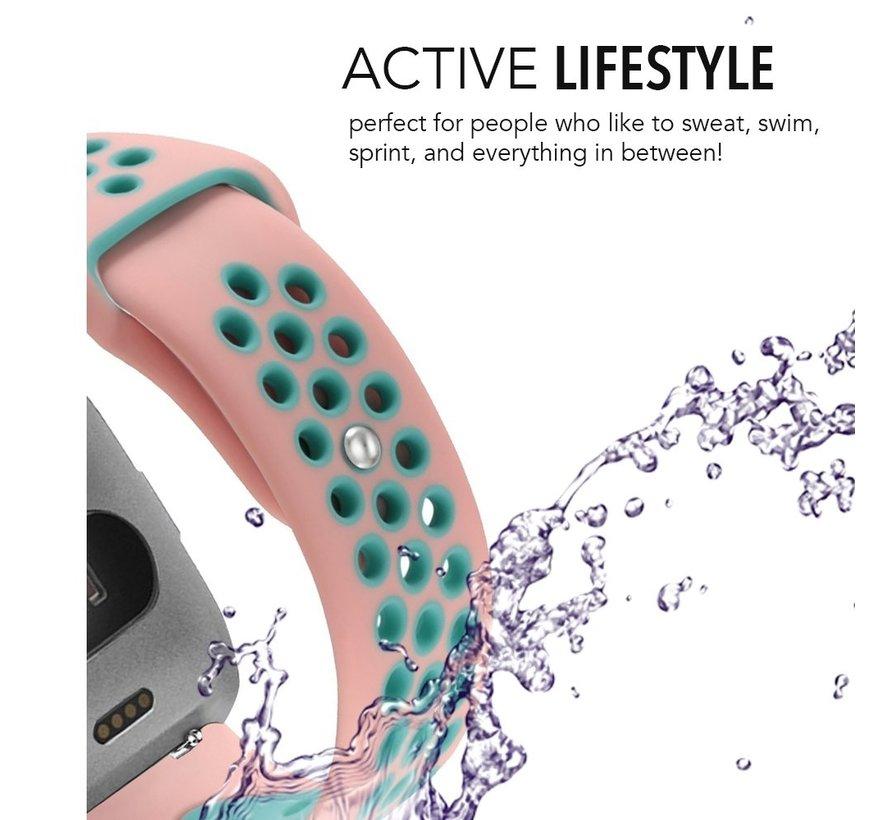 Fitbit versa dubbel sport band - roze lichtblauw