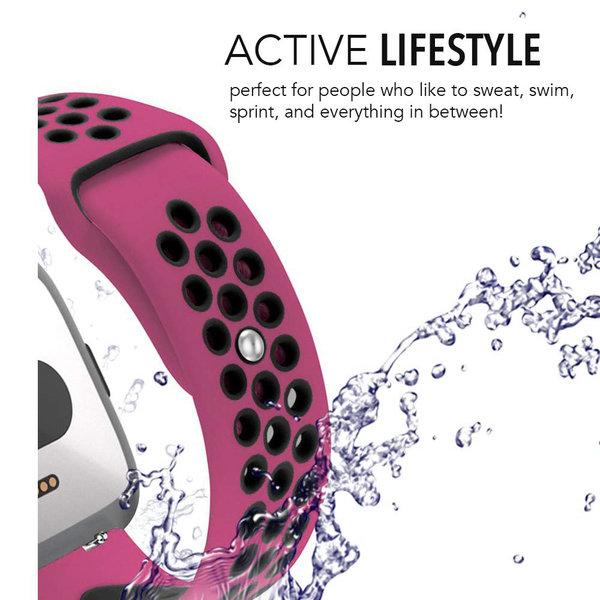 123Watches Fitbit versa doppelt sport band - violet noir