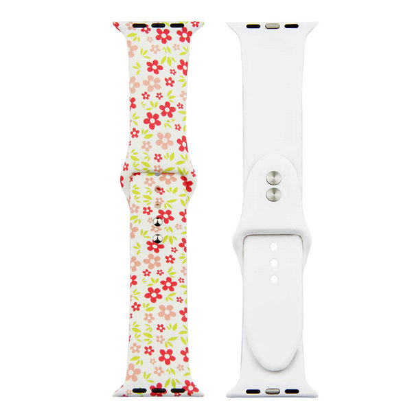 123Watches.nl Apple Watch Print Sportband - Blumen rot