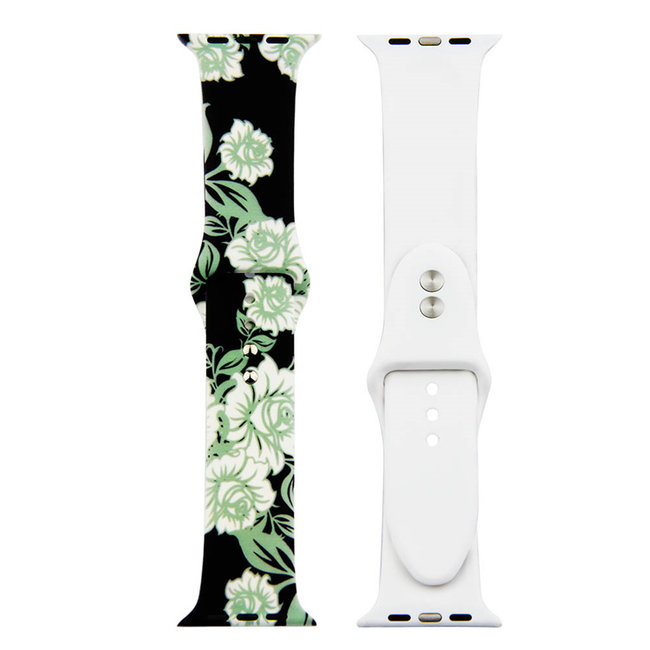 Apple watch print sport band - roses green