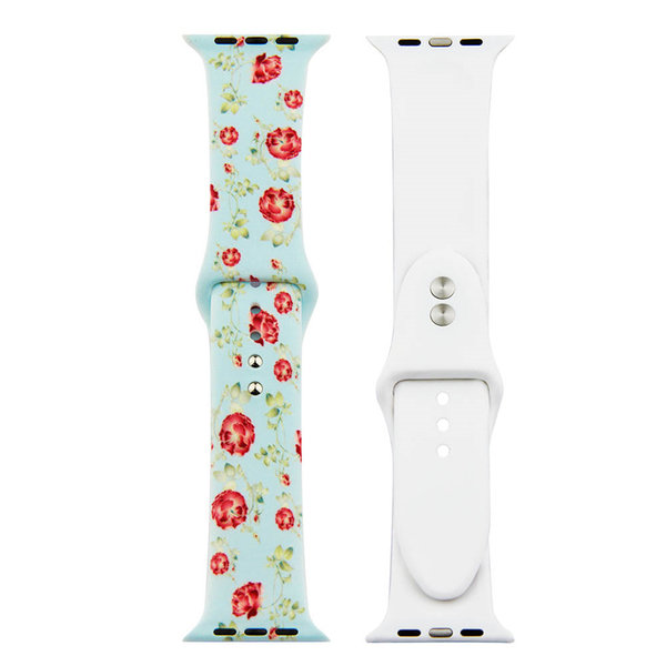 123Watches.nl Apple watch print sport band - roses blue