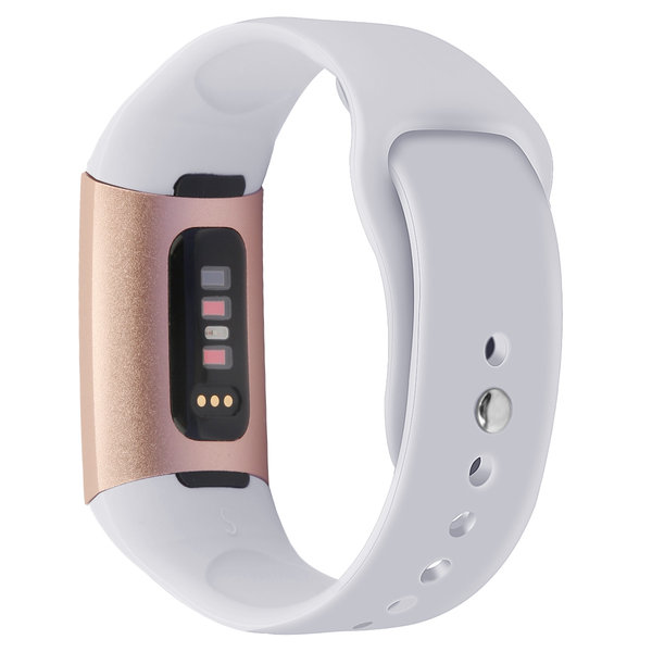 123Watches.nl Fitbit charge 3 sport silicone band - lichtgrijs